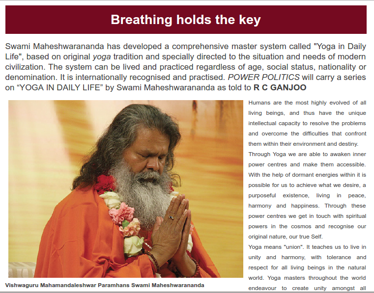 """Breathing holds the key"" - article about YIDL in Indian magazine"