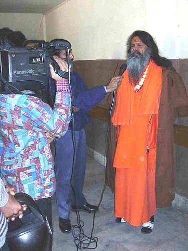 Swamiji giving an interview