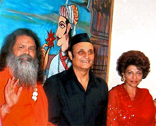 from the left: His Holiness Mahamandaleshwar Paramhans Swami Maheshwaranandji, Dr. Karan Singh and his wife, Maharani Y. R. Lakshmi