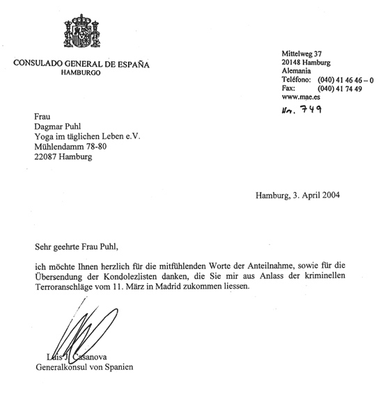 Letter from Spanish Embassy in Hamburg/Germany