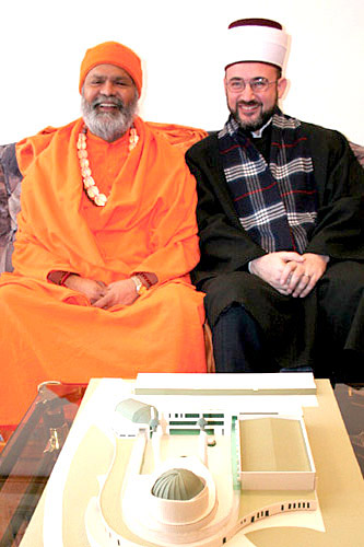 His Holiness Swamiji with Mufti Osman Djogic (in front of them is a model of a new Muslim centre that is going to be built in Ljubljana)