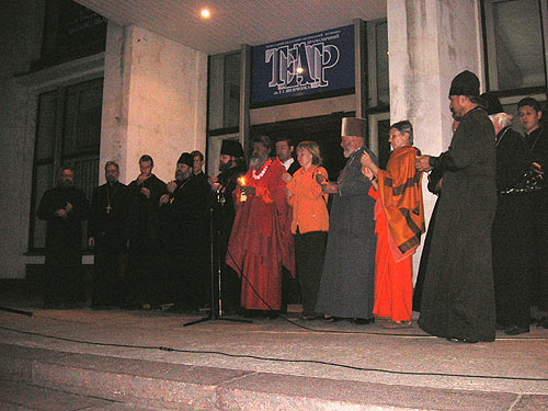 World Peace Prayer in Cherkasy, participating His Holiness Swamiji and Bishop Ioann of Cherkasy